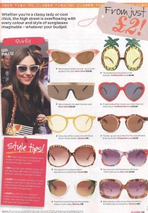 Pineapple and Heart- Shaped Sunglasses in Closer 12th July 2011