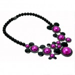 Black Hematie Plated Fuschia Pearl Minnie Mouse Mawi Statement Necklace from Disney Couture