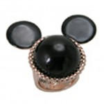 Rose Gold Plated and Black Pearl Minnie Mouse Mawi Ring from Disney Couture