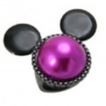 Black Hematite Plated and Fuschia Pearl Minnie Mouse Mawi Ring from Disney Couture