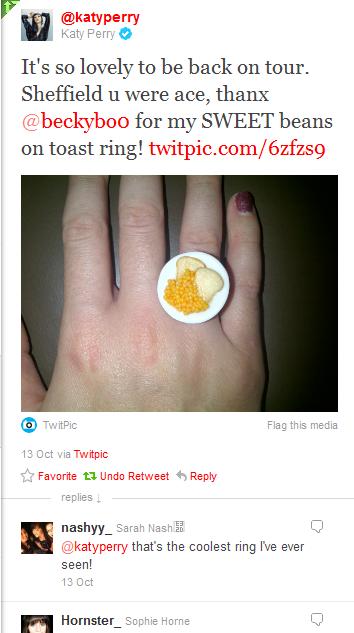 Katy Perry Beans On Toast Tweet