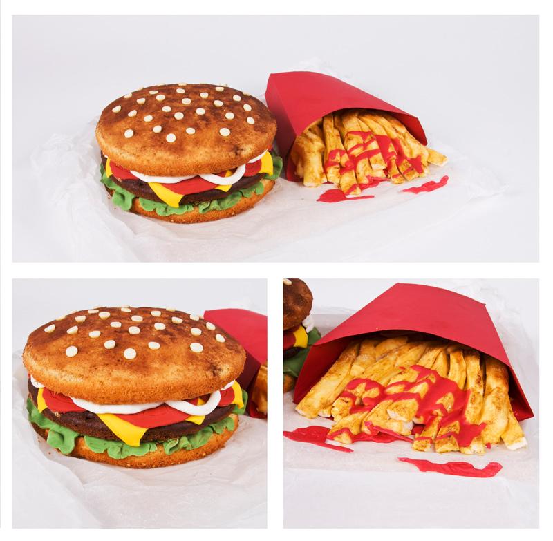 Burger fries cake american fast food cake