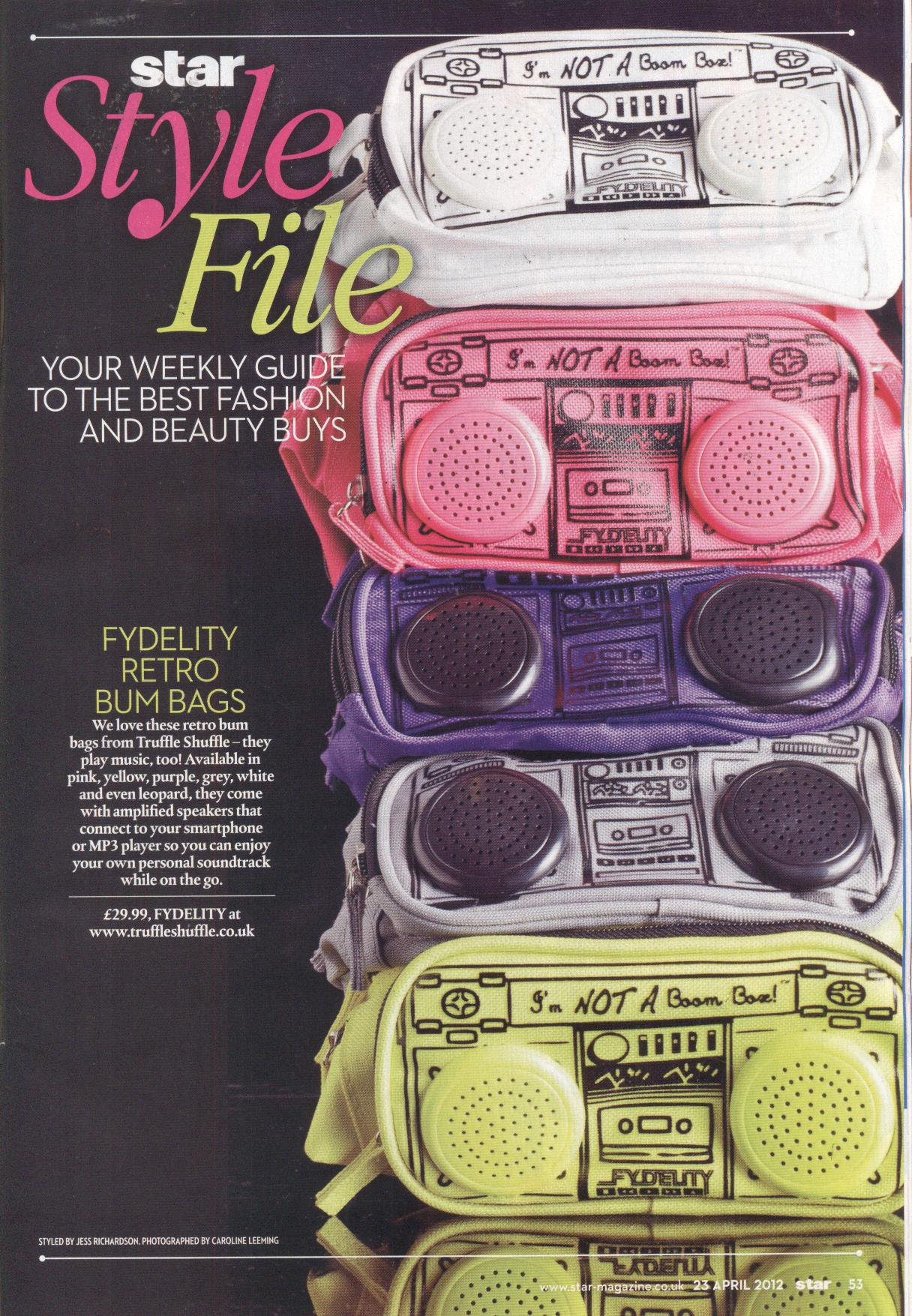 high fydelity Boombox bumbags as seen in Star Magazine from www.truffleshuffle.co.uk