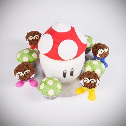 Nintendo Mushroom cake Nitendo mushroom 1up mario goomba cake baking