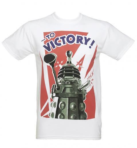 Mens White Doctor Who Dalek To Victory T -Shirt