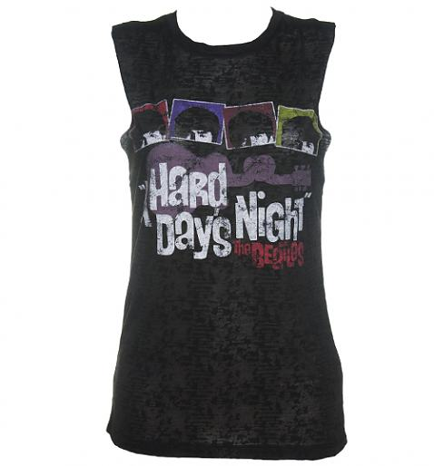 Ladies Black Burn Out Hard Days Night Beatles Sleeveless T-Shirt £28.99