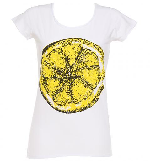 Ladies White Stone Roses Big Lemon T-Shirt £25.00