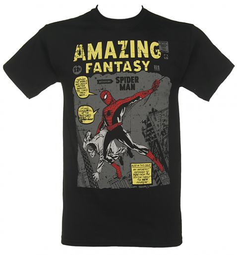 Men's Black Spiderman Amazing Fantasy Vintage Cover Print Marvel T-Shirt £17.99