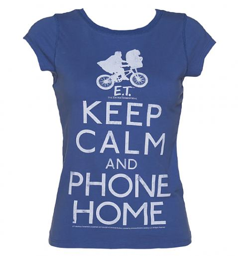 Ladies Blue Keep Calm And Phone Home E.T. Acid Wash Vintage T-Shirt £19.99 (also available for men!)