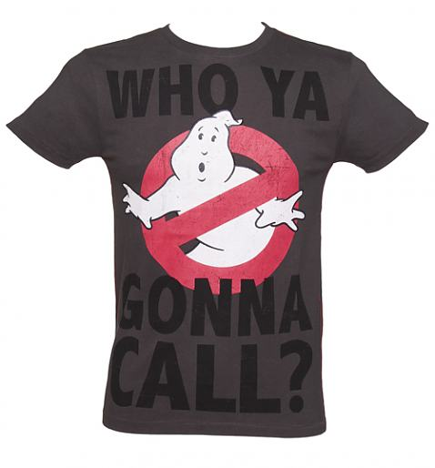 Men's Dark Grey Marble Wash Who Ya Gonna Call Ghostbusters T-Shirt £19.99