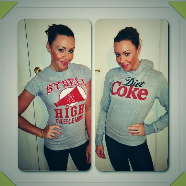 Michelle Heaton SPOTTED in our Ladies Grease Rydell High Cheerleading T-Shirt AND Ladies Diet Coke Hoodie