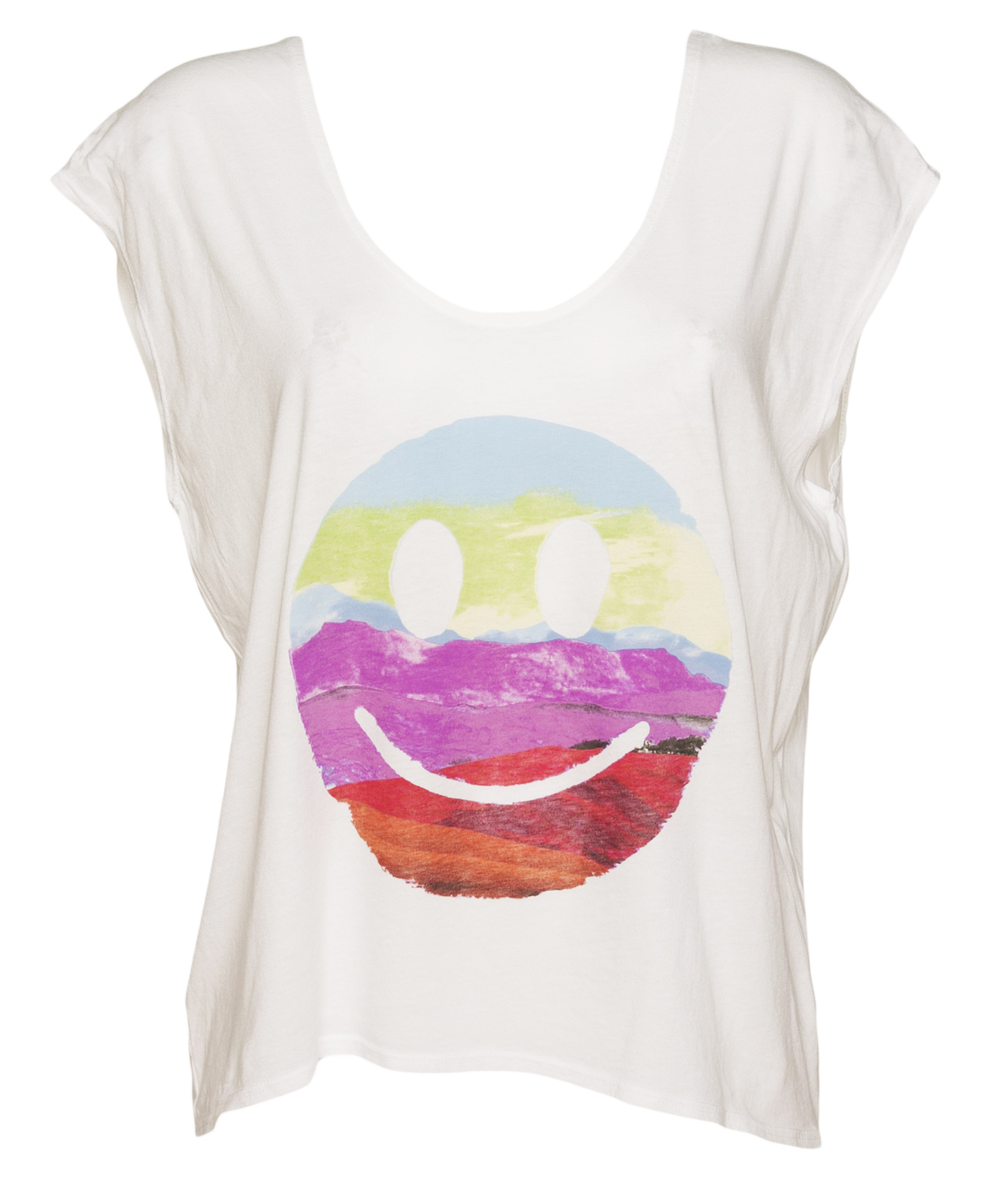 Ladies White Happy Face Scene Scoop Neck Slouch T-Shirt from Junk Food £26.99