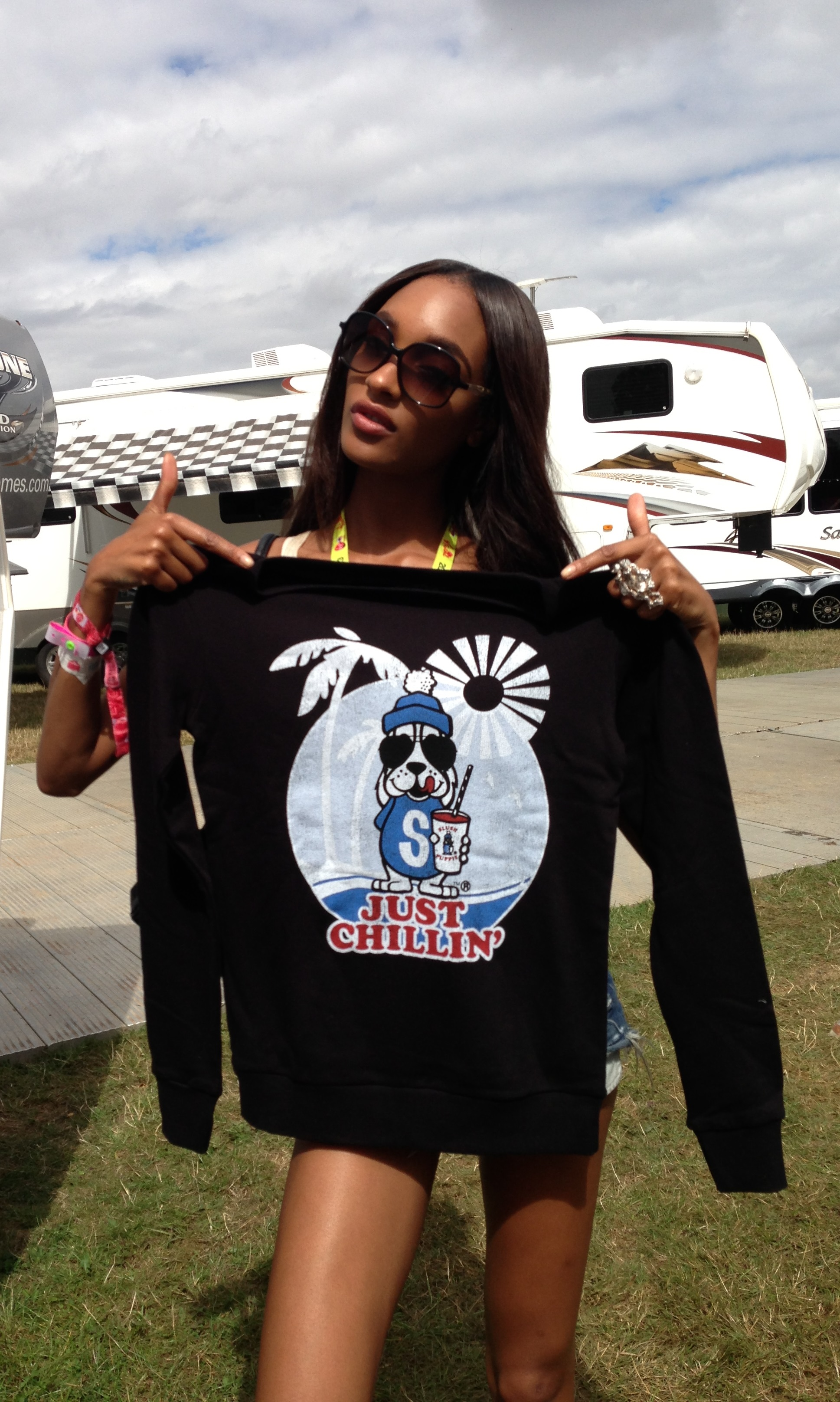 Jourdan Dunn SPOTTED With Our Ladies Slush Puppie Just Chillin Sweater £29.99
