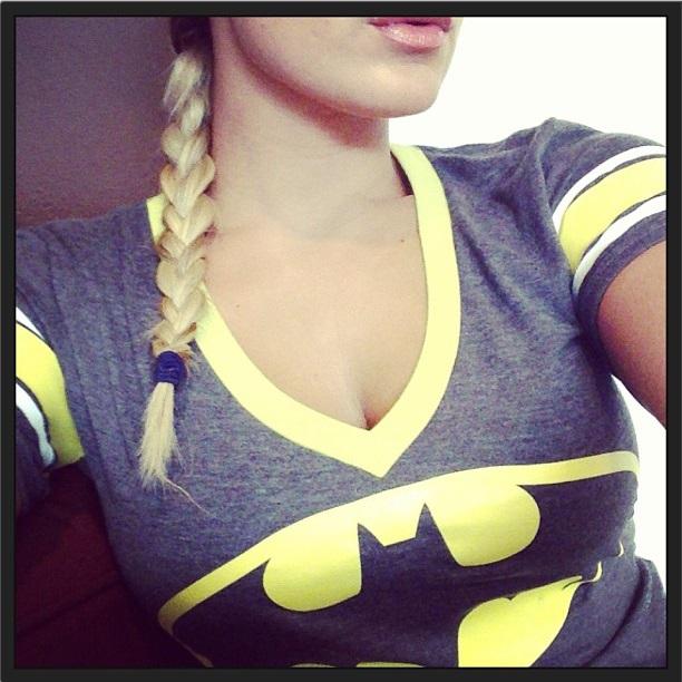 Sam Faiers Wears Our Ladies Black Batman V-Neck T-Shirt £34.99