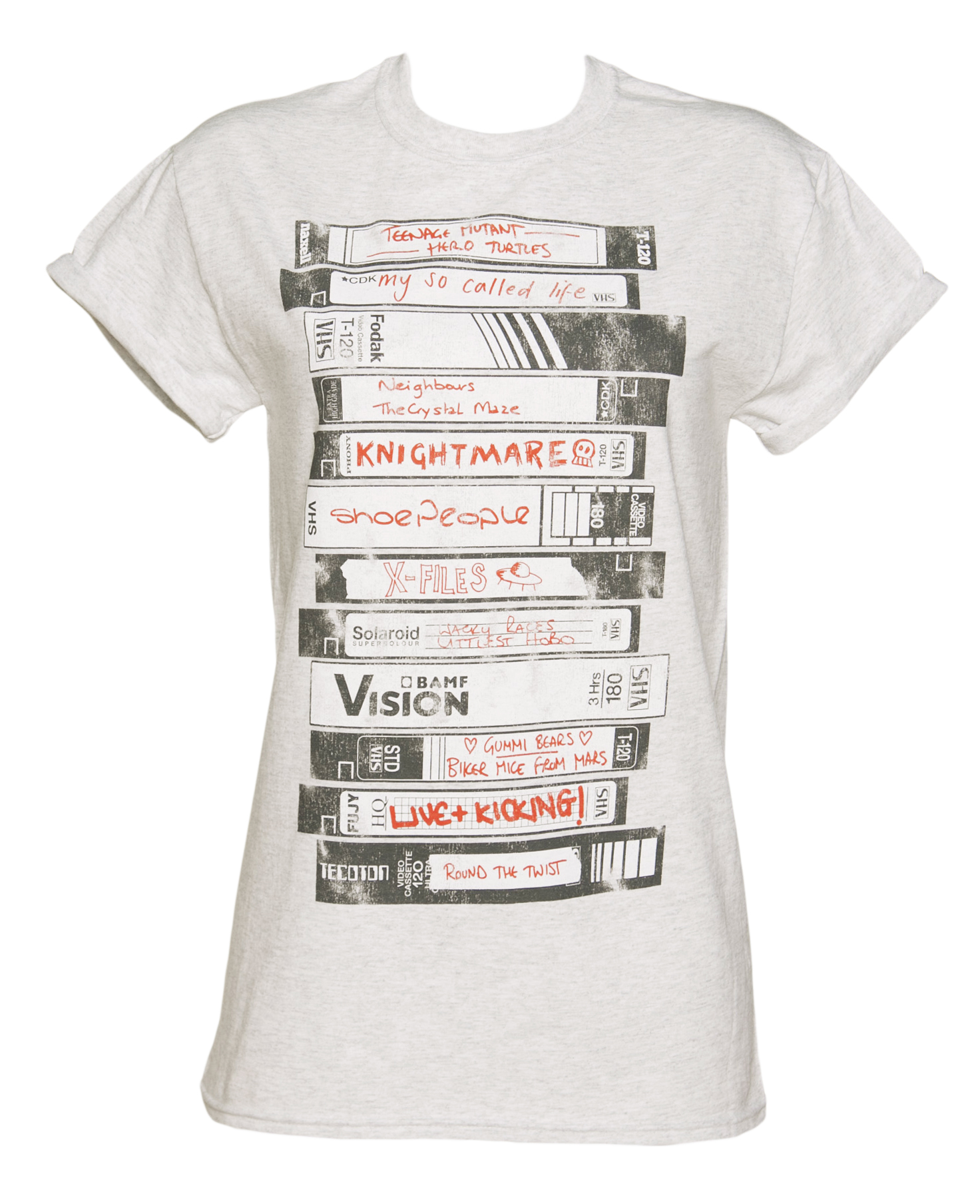 Ladies Old School Video Tapes Collection Rolled Sleeve Boyfriend T-Shirt £19.99