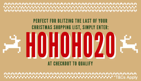 Perfect for blitzing the last of your Christmas shopping list, simply enter: XMAS20 at checkout to qualify