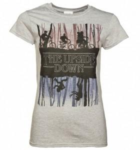 Women's Grey Stranger Things Inspired Upside Down T-Shirt