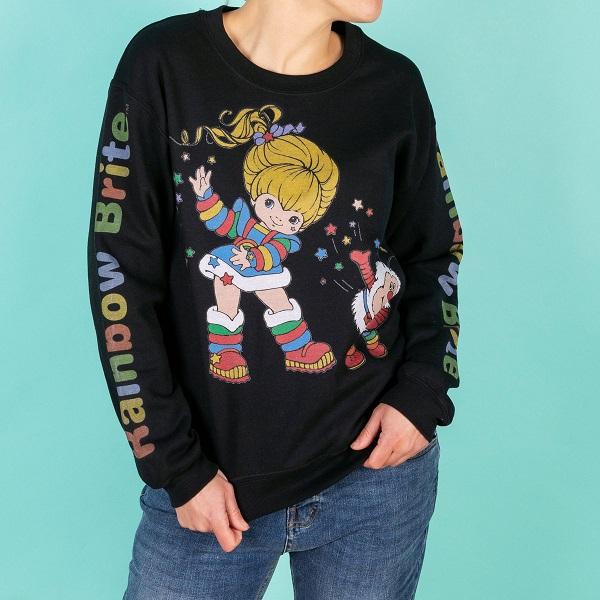 Rainbow Brite Logo Sleeve Print Black Sweater
