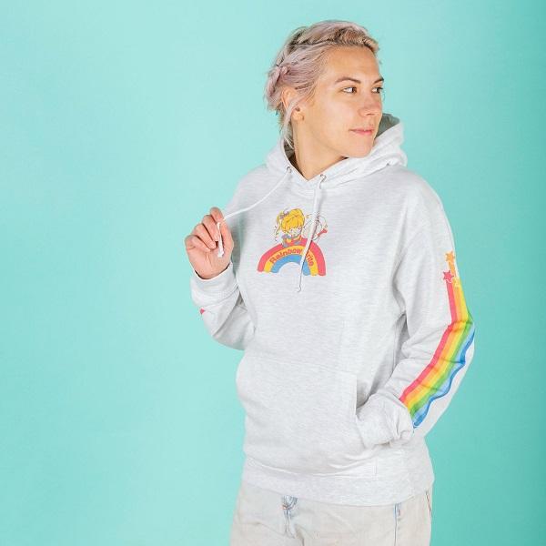 Rainbow Brite Rainbow Sleeve Print Ash Grey Hoodie