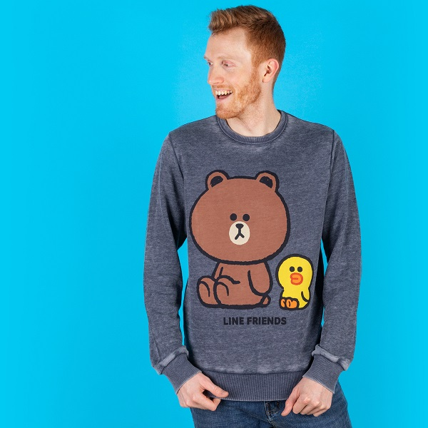 Line Friends Cony Brown Sally Vintage Grey Sweater from Recovered